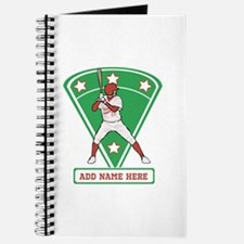 Personalized Red Baseball star player Journal