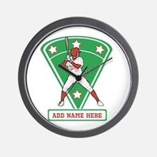 Personalized Red Baseball star player Wall Clock