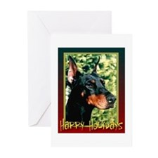 Happy Holidays Dobermann Greeting Cards (Package o
