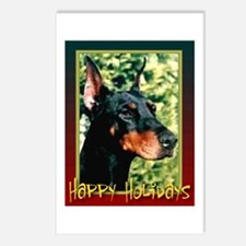 Happy Holidays Dobermann Postcards (Package of 8)