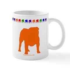 Orange Bulldog Silhouette Mug With Border