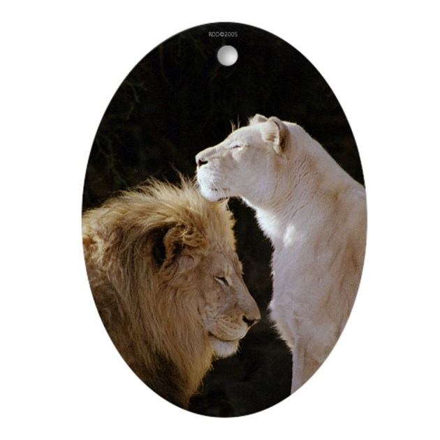 Abstract Lion With Yin Yang: Lion And Lioness Yin/Yang Oval Ornament By Reikishamanic