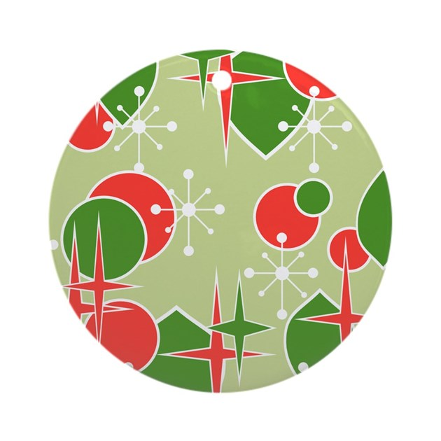 Retro funky christmas ornament round by funkyolive