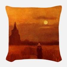 Van Gogh Tower in Fields Woven Throw Pillow