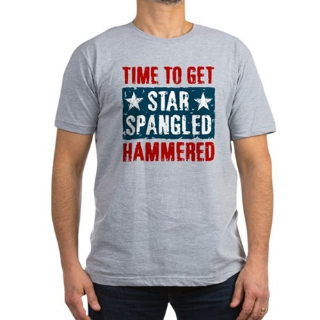 Star Spangled Hammered Men's Fitted T-Shirt (dark)