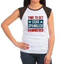 Star Spangled Hammered Women's Cap Sleeve T-Shirt