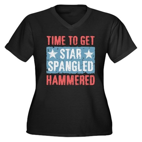 Star Spangled Hammered Women's Plus Size V-Neck Da