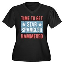 Star Spangled Hammered Women's Plus Size V-Neck Da