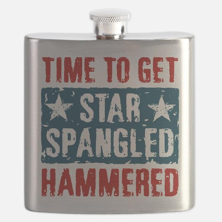Star Spangled Hammered Flask