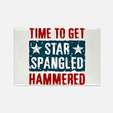 Star Spangled Hammered Rectangle Magnet