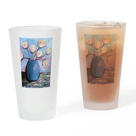 tulips in blue vase zazzle size Drinking Glass