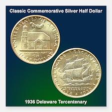 Delaware Tercentenary Coin Square Magnet 3x3 in