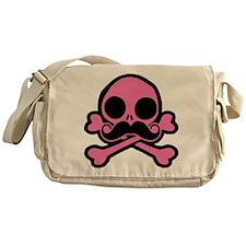 Pink Skull With Moustache Messenger Bag