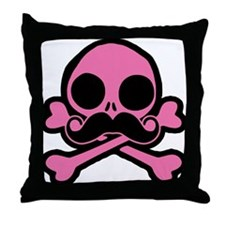 Pink Skull With Moustache Throw Pillow