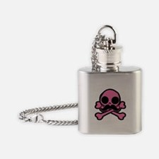 Pink Skull With Moustache Flask Necklace