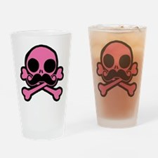 Pink Skull With Moustache Drinking Glass