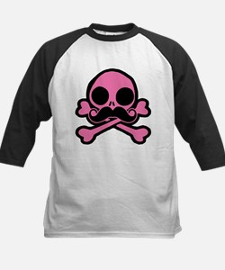 Pink Skull With Moustache Baseball Jersey