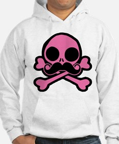 Pink Skull With Moustache Hoodie