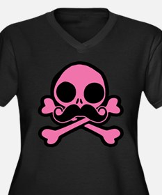 Pink Skull With Moustache Plus Size T-Shirt