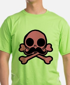 Pink Skull With Moustache T-Shirt