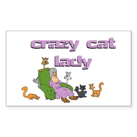 Crazy Old Cat Lady Rectangle Sticker