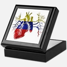Venezuela Flag in Real heart Keepsake Box