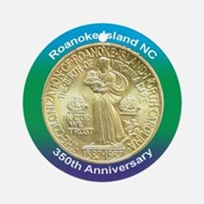 Roanoke Island NC Coin Ornament (Round)