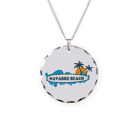 Navarre Beach - Surf Design. Necklace Circle Charm