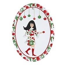 Funky Christmas Diva  Oval Ornament