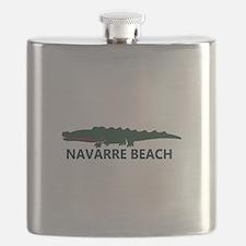 Navarre Beach - Alligator Design. Flask