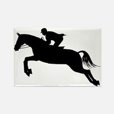 Horse Jumping Silhouette Rectangle Magnet