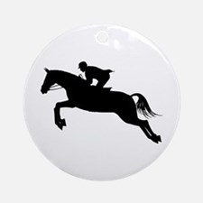 Horse Jumping Silhouette Ornament (Round)