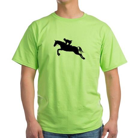 Horse Jumping Silhouette Green T-Shirt
