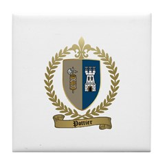 POTTIER Family Crest Tile Coaster