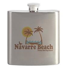 Navarre Beach - Palm Trees Design. Flask