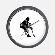 Hockey Defender Silhouette Wall Clock