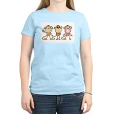 Hear See Speak No Evil Monkey Women's Pink T-Shirt