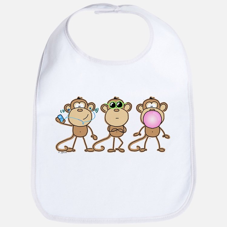 Hear See Speak No Evil Monkey Bib