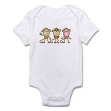 Hear See Speak No Evil Monkey Infant Bodysuit