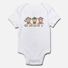 Hear See Speak No Evil Monkey Infant Bodysuit