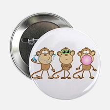 Hear See Speak No Evil Monkey Button