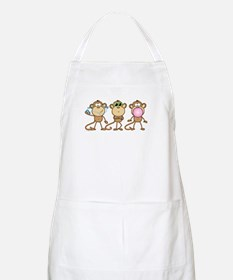 Hear See Speak No Evil Monkey BBQ Apron