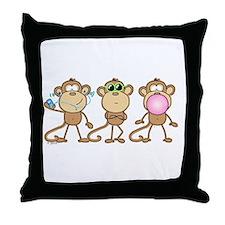 Hear See Speak No Evil Monkey Throw Pillow