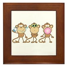 Hear See Speak No Evil Monkey Framed Tile