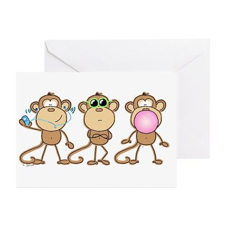 Hear See Speak No Evil Monkey Greeting Cards (Pack