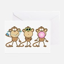 Hear See Speak No Evil Monkey Greeting Cards (Pack