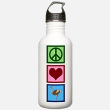 Peace Love Ostriches Water Bottle