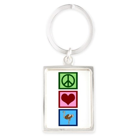 Peace Love Ostriches Portrait Keychain