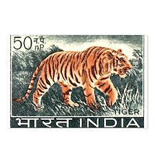 Vintage 1963 India Tiger Postage Stamp Postcards (