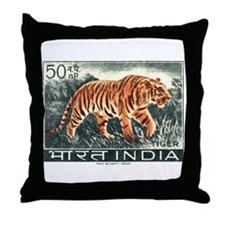 Vintage 1963 India Tiger Postage Stamp Throw Pillo